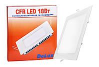 Світильник світлодіодний вбудований стельовий DELUX CFR LED 18 4100К 18 Вт 220В квадрат