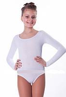 Купальник белый для детской хореографии c длинным рукавом