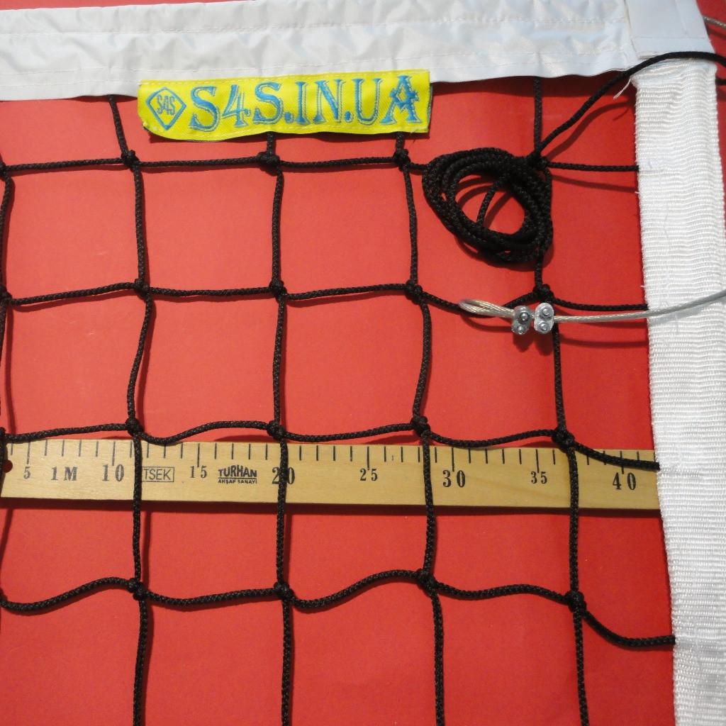 Сетка для классического волейбола «ЭКСКЛЮЗИВ» с тросом черно-белая