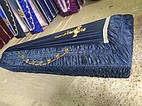 Гроб - драпировка шёлк (темно-синий) сайт:  Orfey1.com