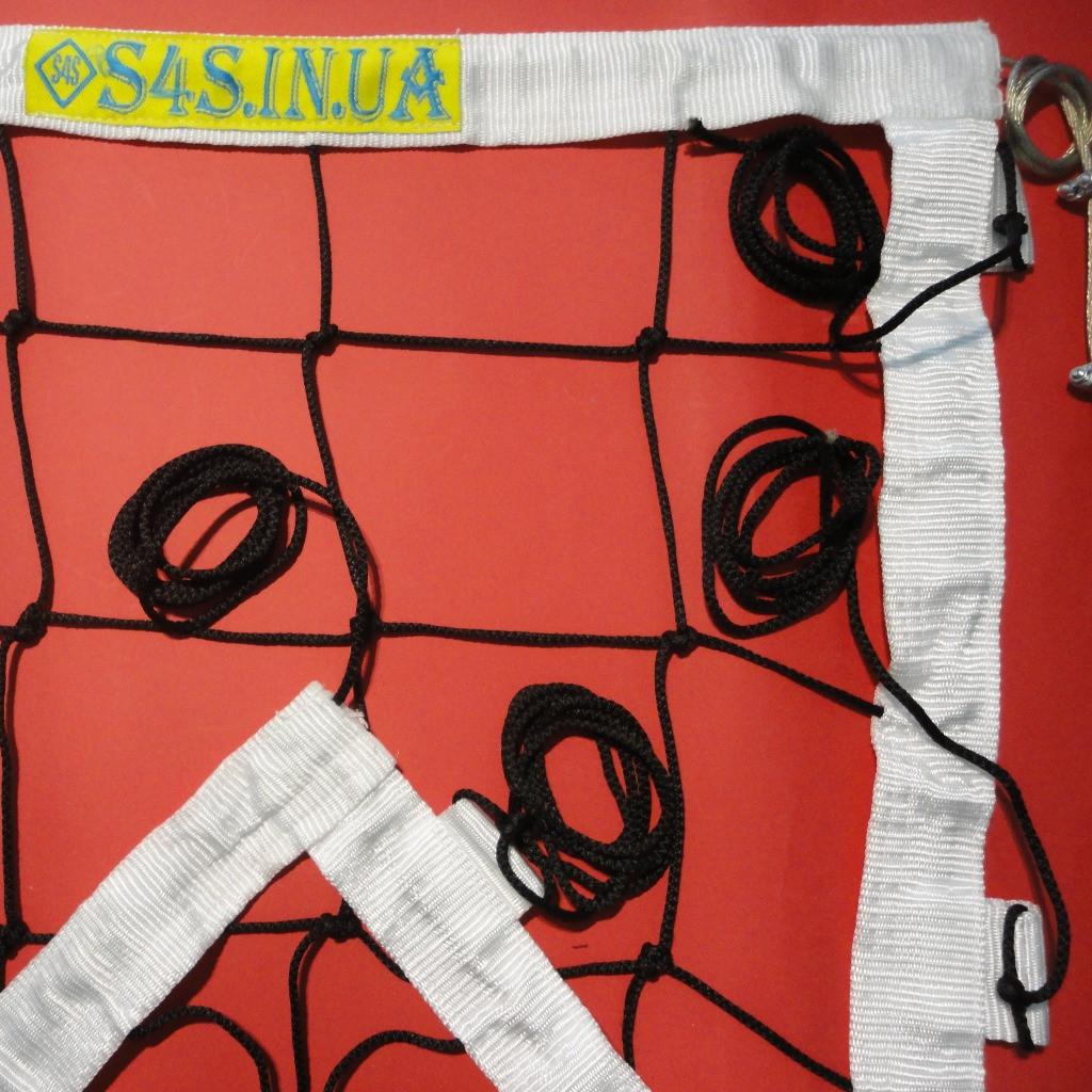 Сетка для классического волейбола «ЭЛИТ 15 НОРМА» с тросом черно-белая