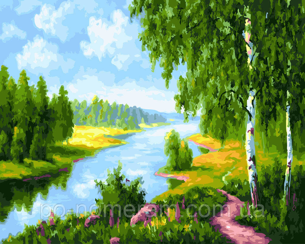 Раскраска для взрослых Березки у реки (BRM22577) 40 х 50 ...