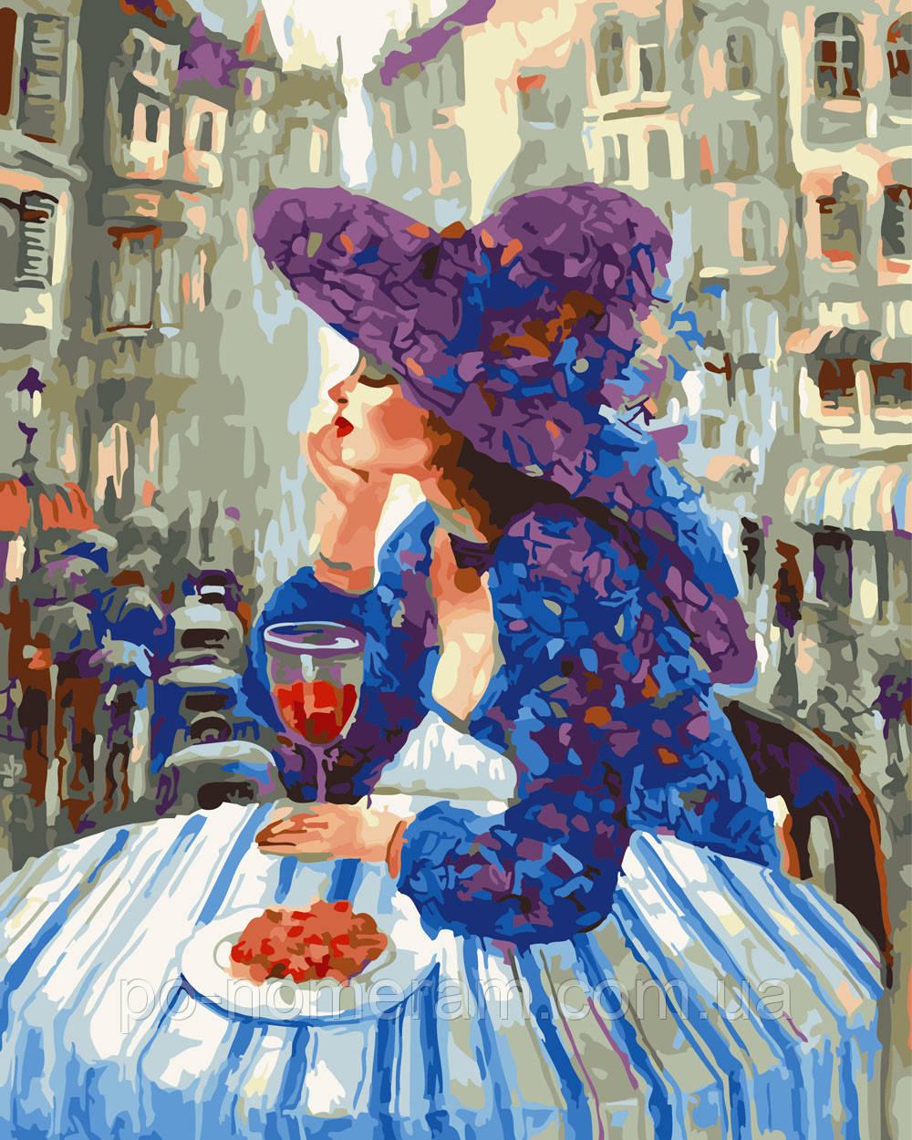 Раскраска для взрослых Девушка в кафе (BRM25109) 40 х 50 ...