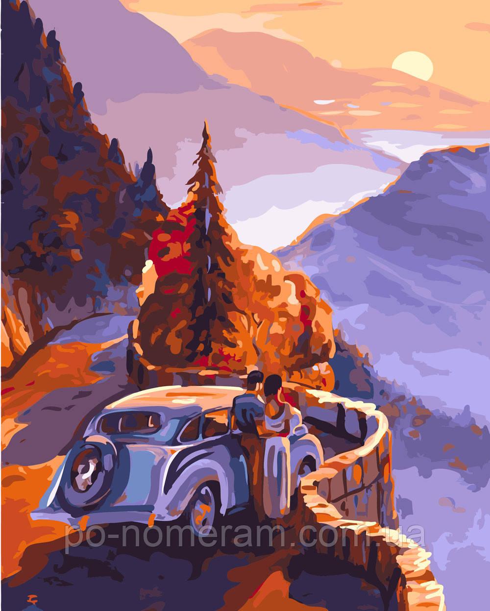 Раскраска для взрослых Закат в горах (BRM26251) 40 х 50 см ...