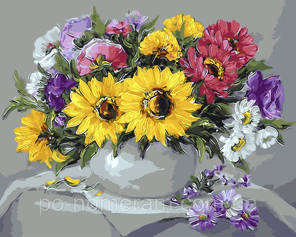 Раскраска для взрослых Цветочный натюрморт (BRM9415) 40 х ...
