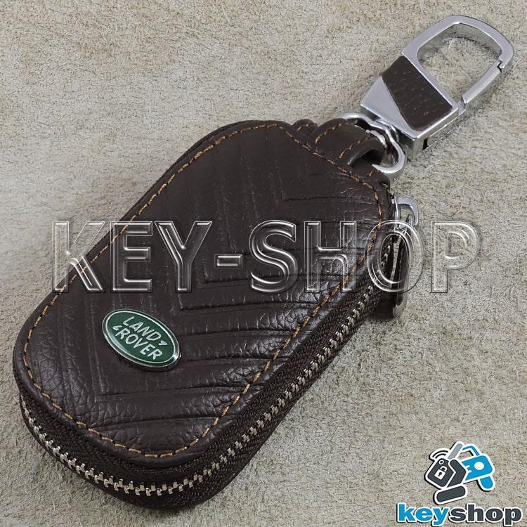 Ключниця кишенькова (шкіряна, коричнева, з тисненням, з карабіном, кільцем), логотип Land Rover (Ленд Ровер)