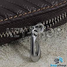 Ключниця кишенькова (шкіряна, коричнева, з тисненням, з карабіном, кільцем), логотип Land Rover (Ленд Ровер), фото 3