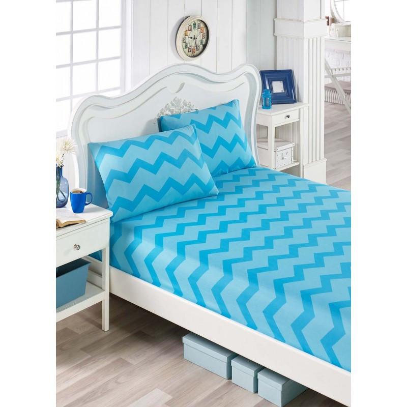 Простынь на резинке с наволочками Eponj Home - ZigZag mavi голубой 160*200