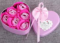 Подарочный набор мыла в форме бутона розы (6 штук розочек), фото 1