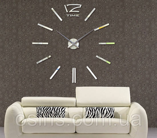 Декоративные самоклеющиеся настенные часы Woow white (диаметр 1 м)