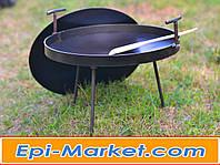 Сковорода с крышкой из диска для пикника и дачи