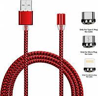 Магнитный кабель USB XOKO SC-350 Magneto Red 3 в 1 - Lightning, Micro USB, Type-C 1 м