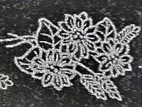 Аппликация для термопереноса флок цветок  3,5*2,5см серебро