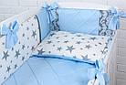 """Дитяча сатинова постіль """"GRAY STAR"""" з блакитним кольором (№6-310), фото 2"""