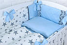"""Дитяча сатинова постіль """"GRAY STAR"""" з блакитним кольором (№6-310), фото 10"""