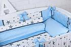 """Дитяча сатинова постіль """"GRAY STAR"""" з блакитним кольором (№6-310), фото 7"""