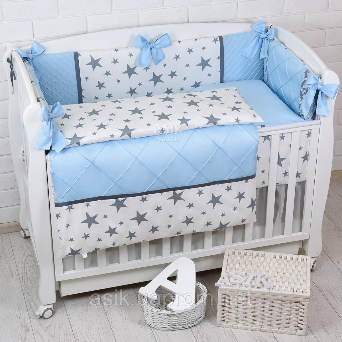 """Детская сатиновая постель """"GRAY STAR"""" с голубым цветом (№6-310)"""