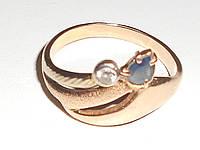 Золотое кольцо с синим сапфиром и фианитом, фото 1