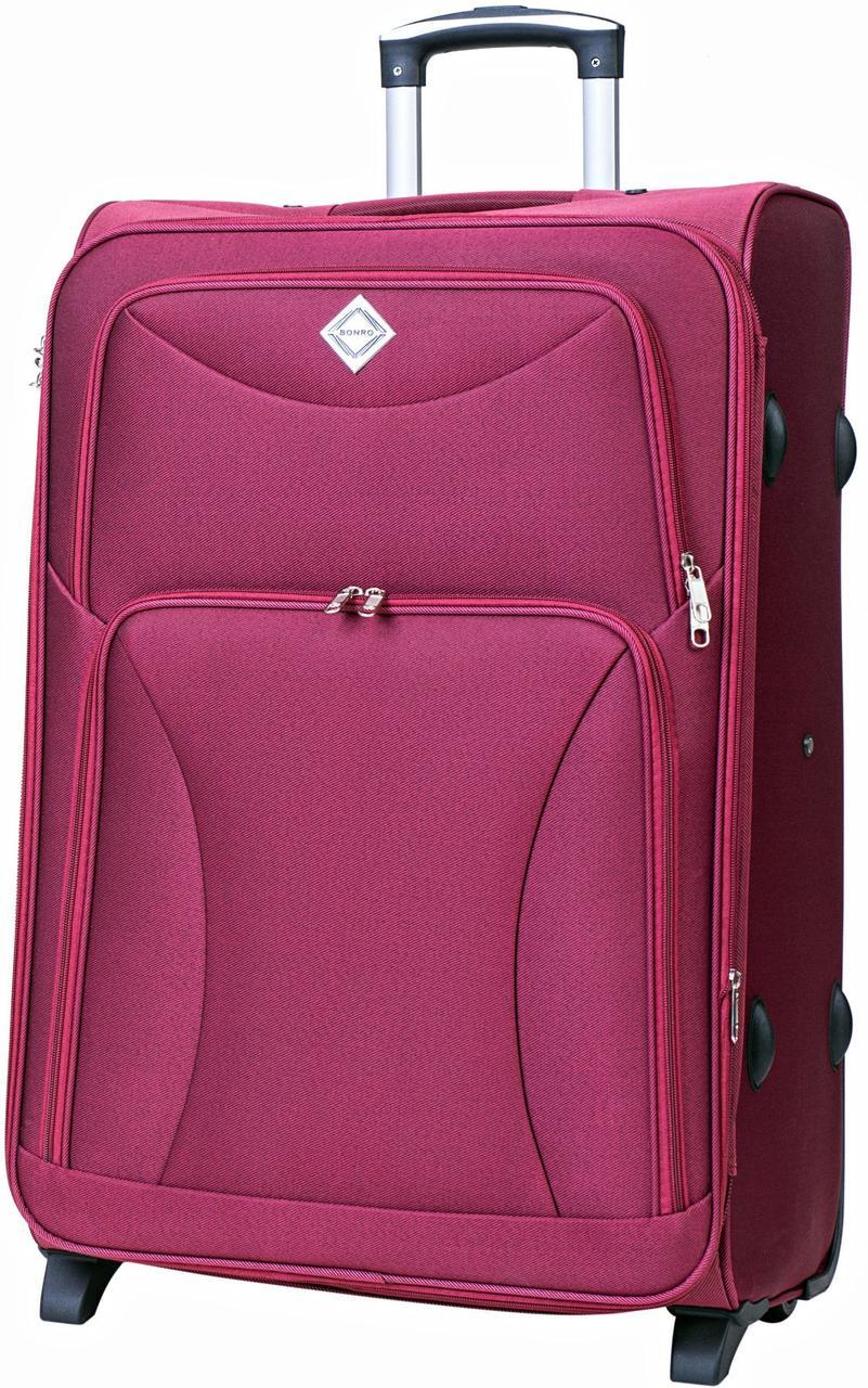Дорожный чемодан на колесах тканевый Bonro Tourist большой вишневый