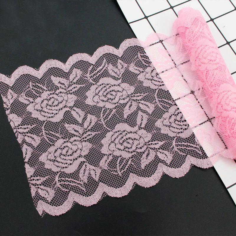 """Кружево стрейчевое, эластичное """"Амели"""" 15см ширина (цена за 1м) Цвет - Розовый (заказ - кратно метру"""
