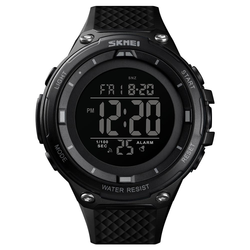 Skmei 1441 черные с черным циферблатом мужские спортивные часы