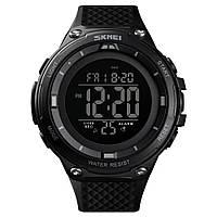 Skmei 1441 черные с черным циферблатом мужские спортивные часы, фото 1
