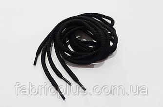 Шнурки круглые 120 см черные толстые 5 мм