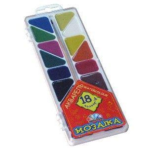 Краски акварель медовые ГАММА Мозаика 312058, 18 цветов, б/кист.