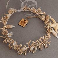 """Свадебные украшения из ракушек: Свадебный веночек для в морском стиле """"Сокровища океана"""""""