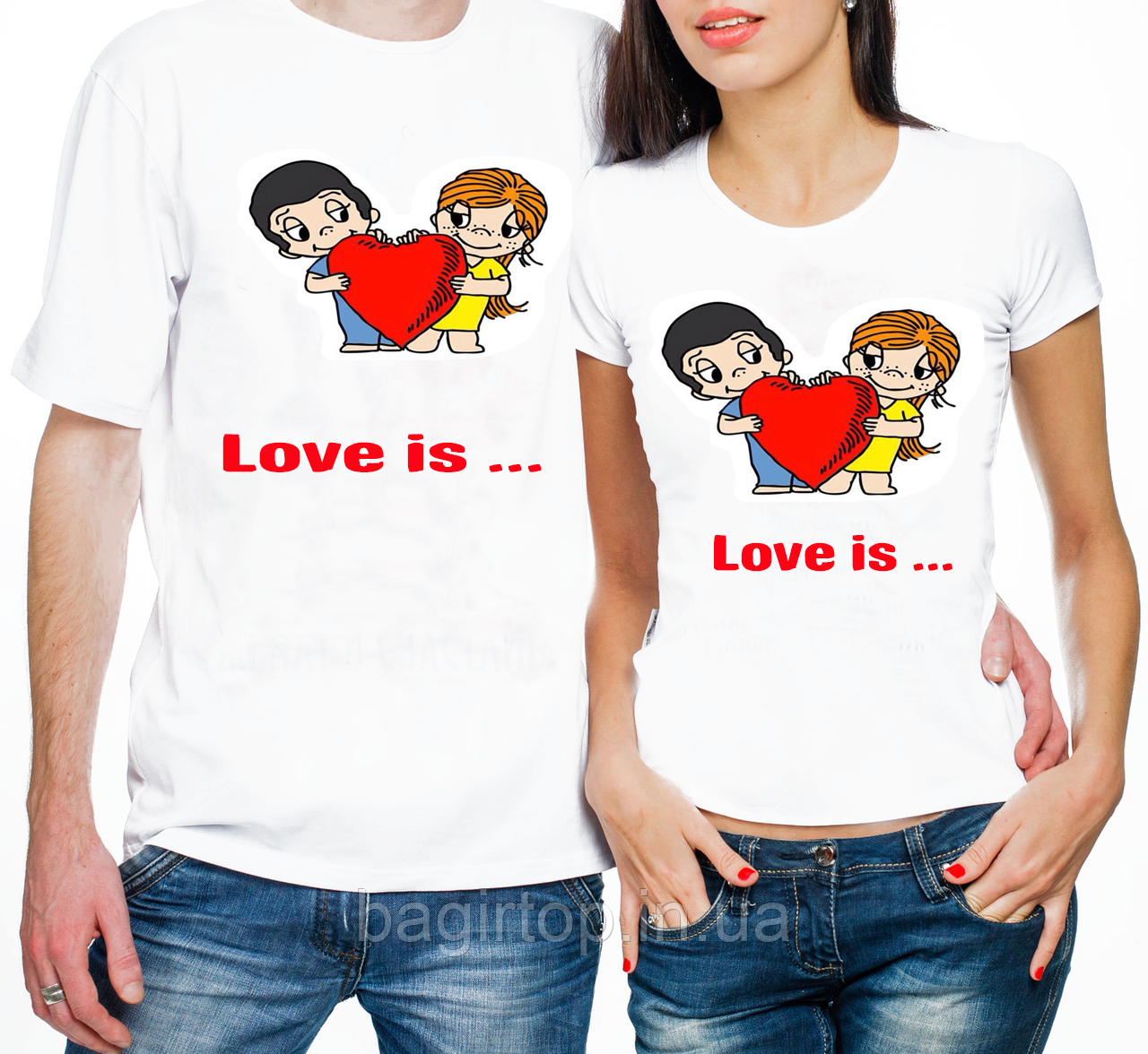 Парные футболки на День святого Валентина - Love is