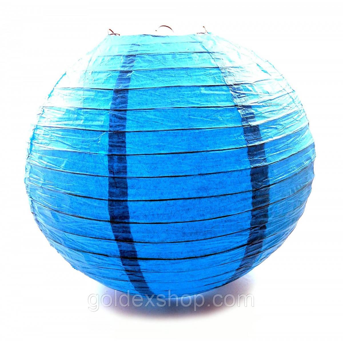 Фонарь синий бумажный (d-30 см)