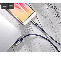 Кабель для зарядки и передачи тканевый micro usb L Hoco U17 1,2 метра Data cable 2,4А (Ампера) Синий, фото 2