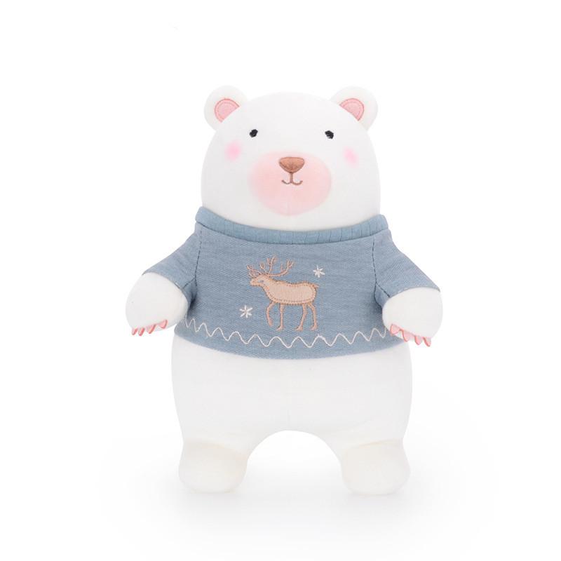 М'яка іграшка Полярний ведмедик у синьому светрі, 35 см