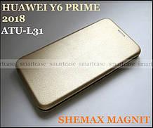 Надежный золотой чехол книжка Huawei Y6 Prime 2018 ATU-L31 от Shemax (Хуавей Ю6 Прайм) Gold