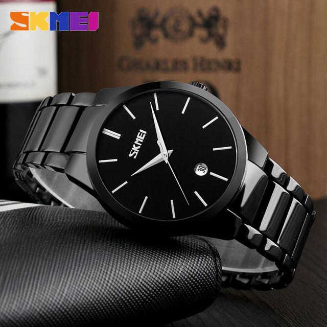 Skmei 9140 черные с черным циферблатом мужские  часы