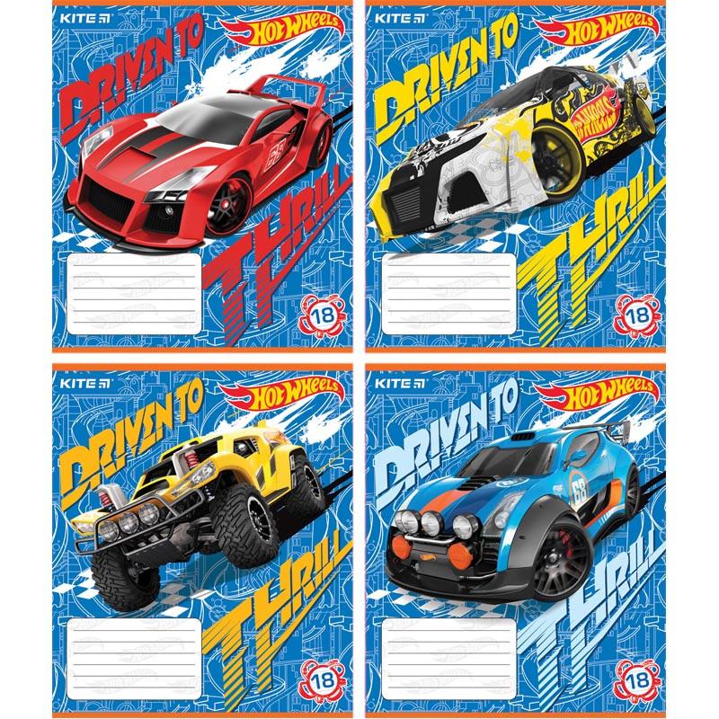 Тетрадь Hot Wheels, 18 листов, линейка, HW18-237