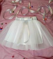 Детская фатиновая юбка с атласным поясом