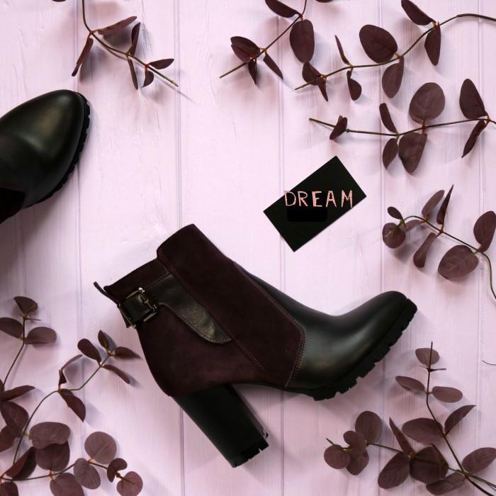 Ботинки женские на каблуке Натуральная кожа и замша Возможен отшив в других цветах