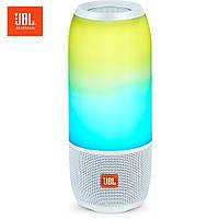 Колонка портативная беспроводная JBL Pulse 3, Большая влагозащитная Bluetooth Белая с светомузыкой, Lux копия