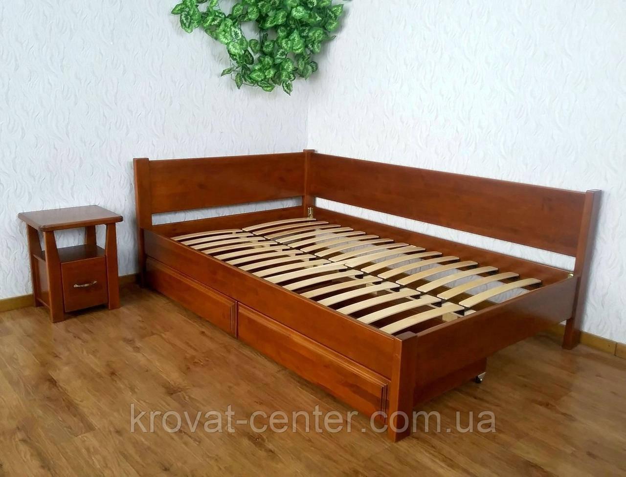 """Полуторная кровать из натурального дерева с выдвижными ящиками """"Шанталь"""""""