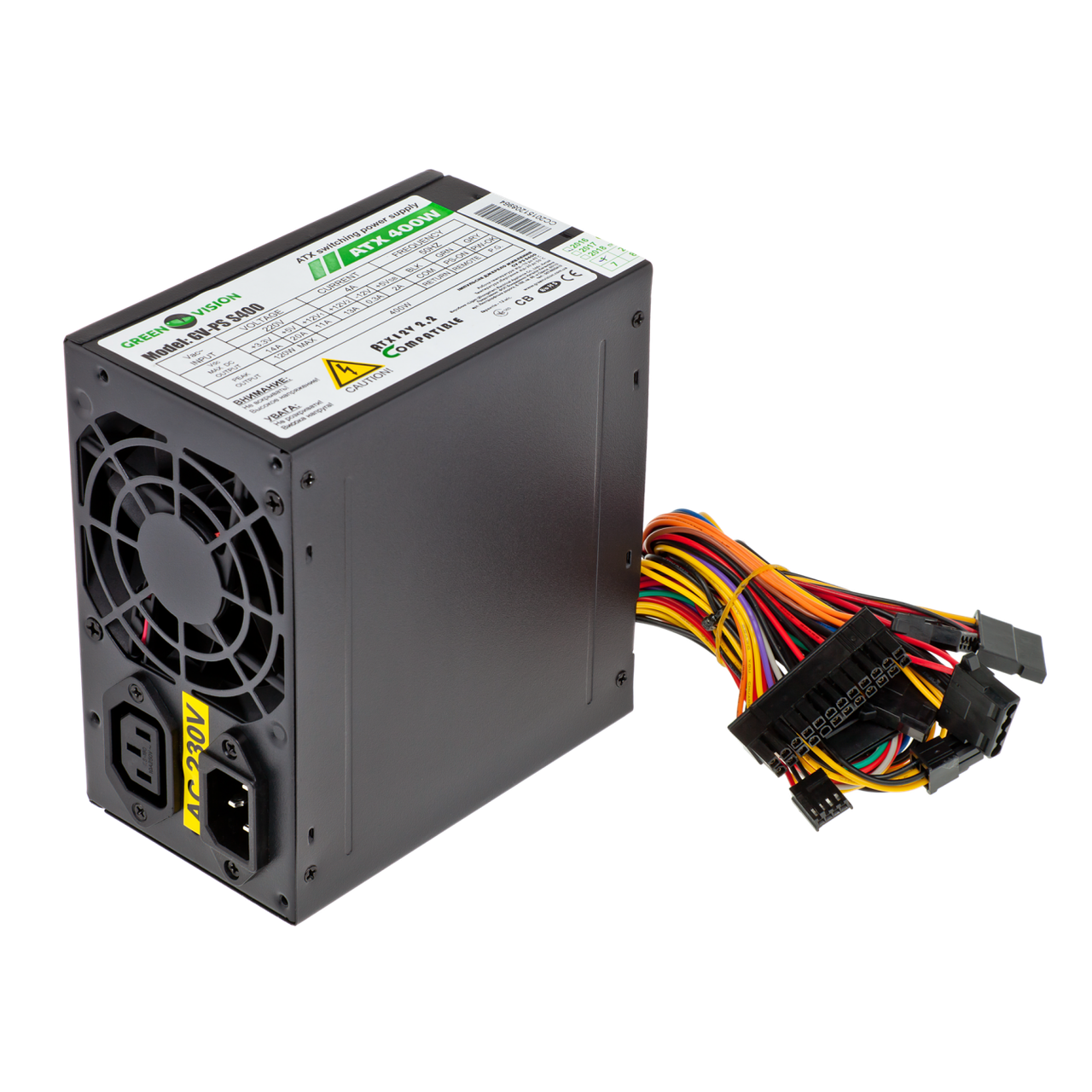 Блок питания GreenVision ATX 400W, fan 8см, black