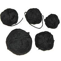 Остатки пряжи, нитки для вязания ЧЕРНЫЕ, акрил, вес 200 гр