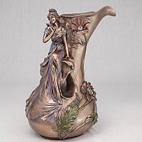 Декоративная ваза Veronese Девушка в маках 34 см 10037 V4 с бронзовым покрытием