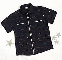 Рубашка на мальчика, 5-8 лет, темно синий