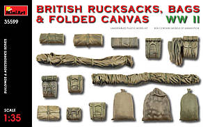 Британские рюкзаки, сумки и сложенный брезент 2МВ. 1/35 MINIART 35599