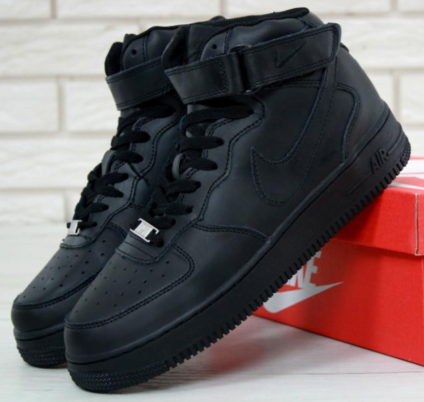 Мужские Кроссовки Nike Air Force 1 High Black, Аир Форсы черные