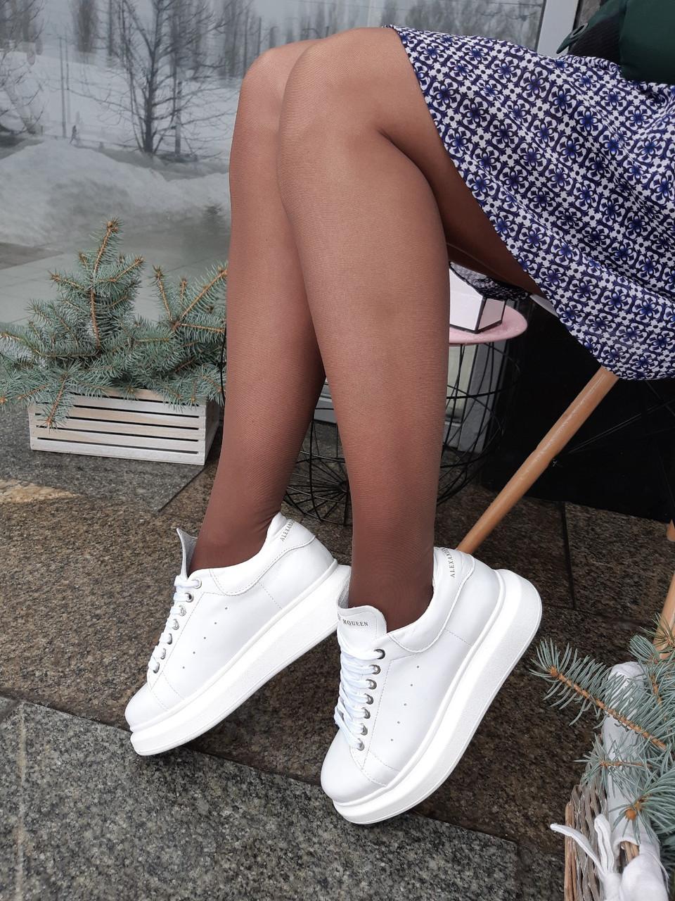 8bafdd0f8fa3e7 Женские Белые кеды Alexander McQueen на платформе натуральная кожа - ГЛЯНЕЦ  | Интернет-магазин КОЖАНОЙ