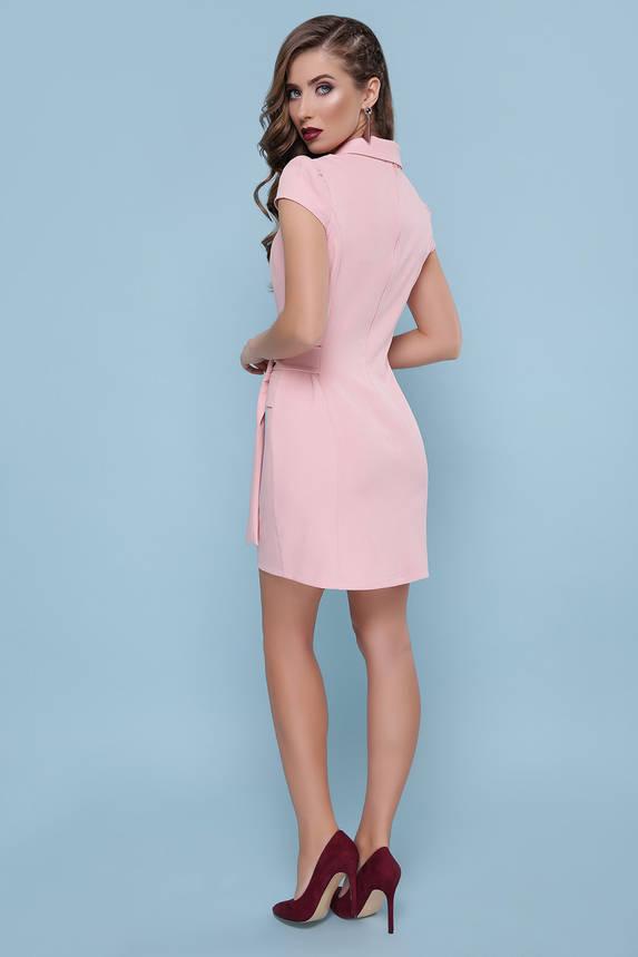 Платье с запахом и коротким рукавом короткое пудра , фото 2