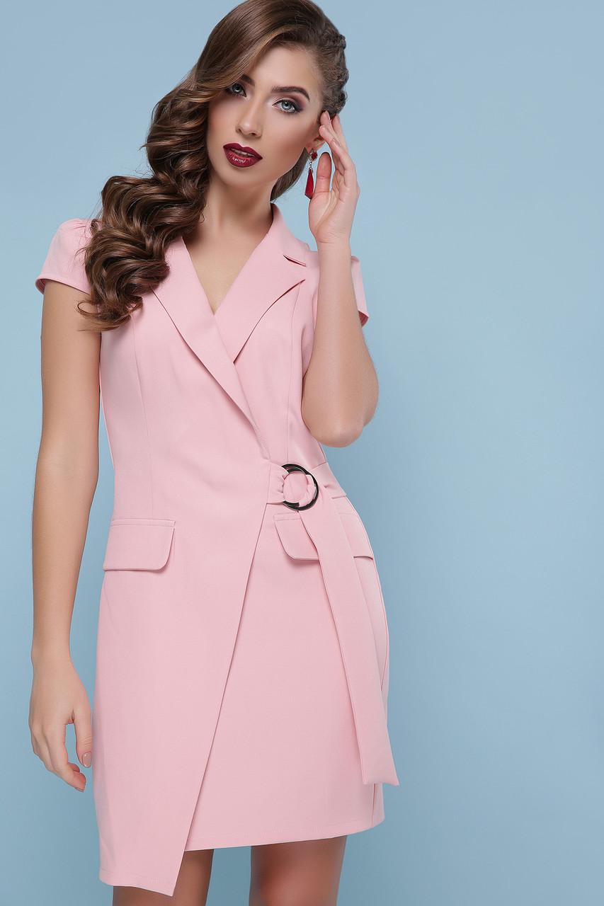 Платье с запахом и коротким рукавом короткое пудра
