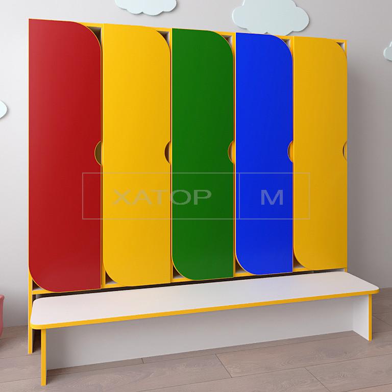 Шкаф для детской одежды Секционный с лавочкой Цвет